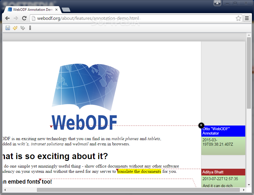 WebODF - Annotations and other ODF features can also be activated and supported as well