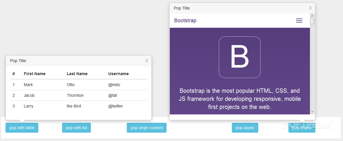 WebUI Popover - Inside the popover any type of content can be shown, from tables, to iframes, forms, and images