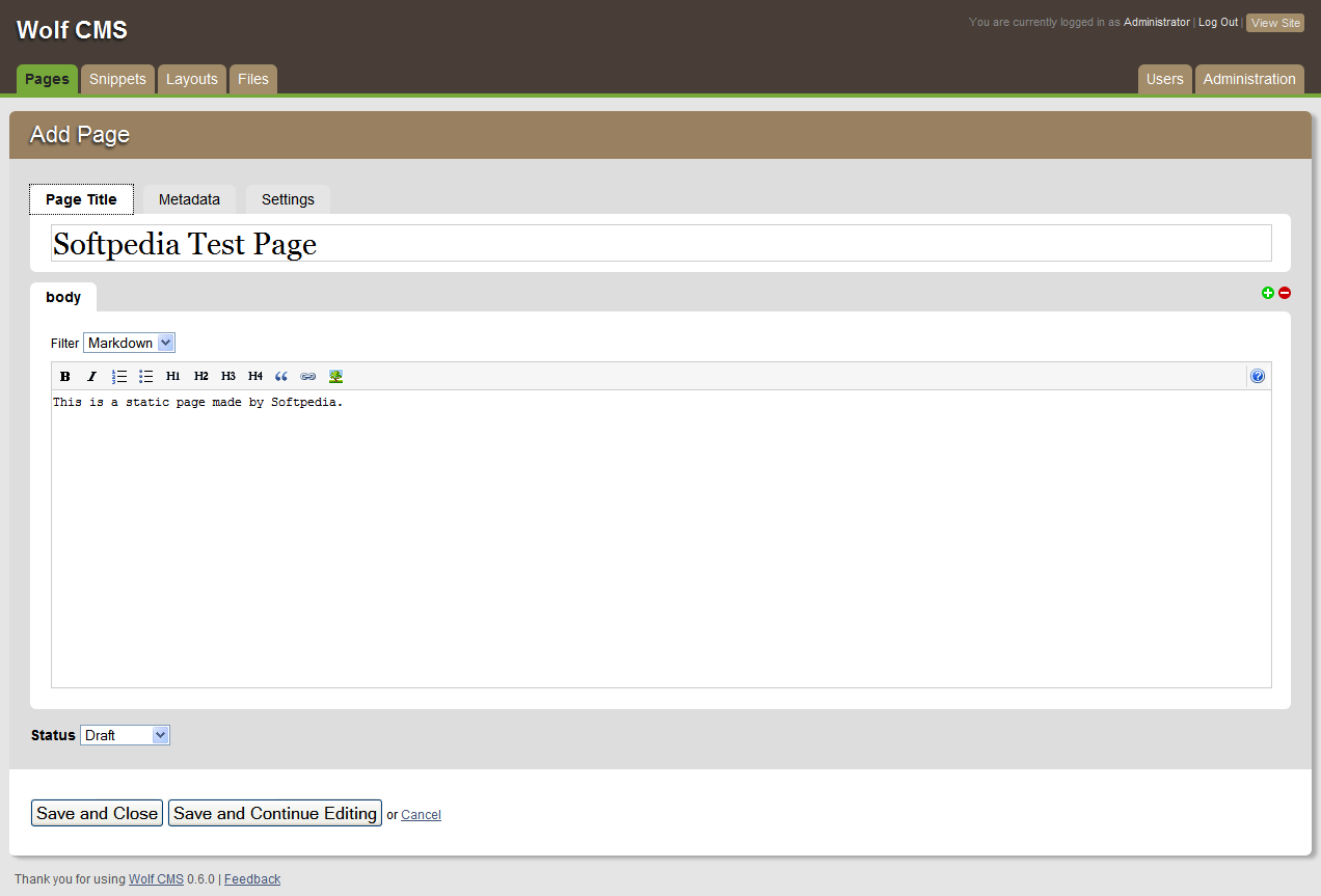 Wolf CMS - Adding a page is done via a WYSIWYG editor
