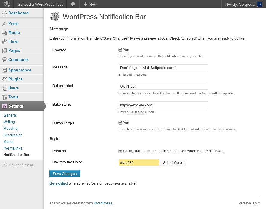 WordPress Notification Bar - The message that appears in the notification bar can be tweaked from the WP backend