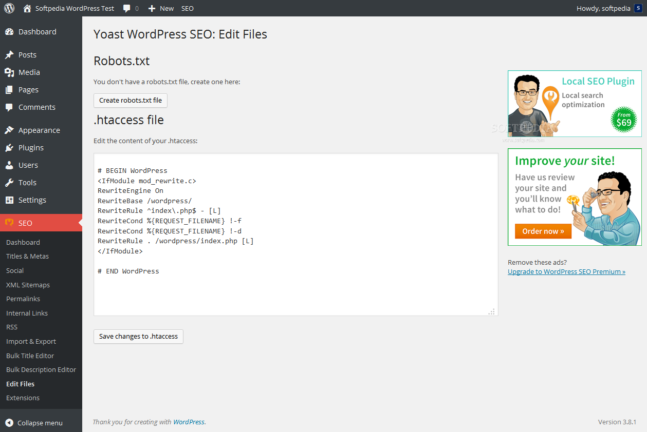 Yoast SEO - Admins can also edit the robots.txt and .htaccess files