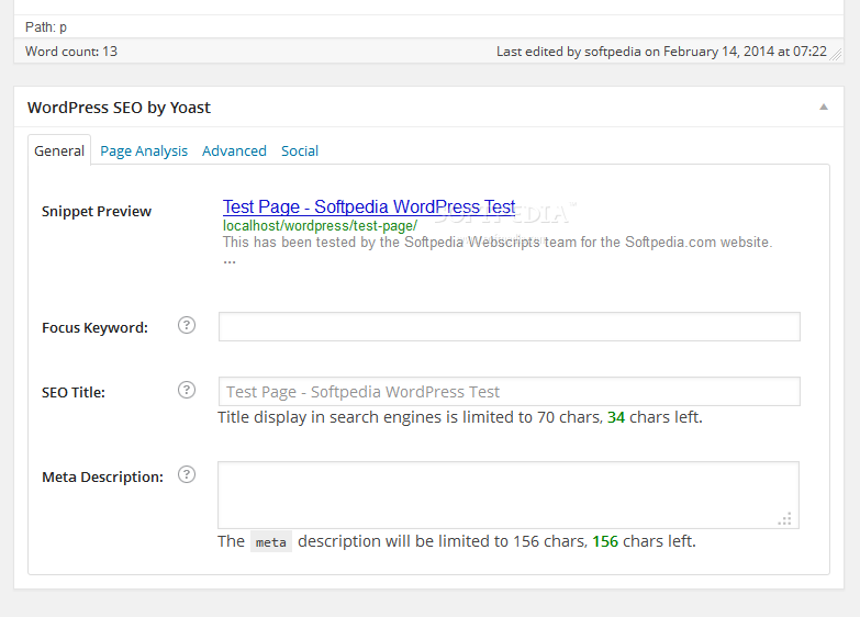 Yoast SEO - WordPress SEO by Yoast also adds a meta widget to the post/page editing screen