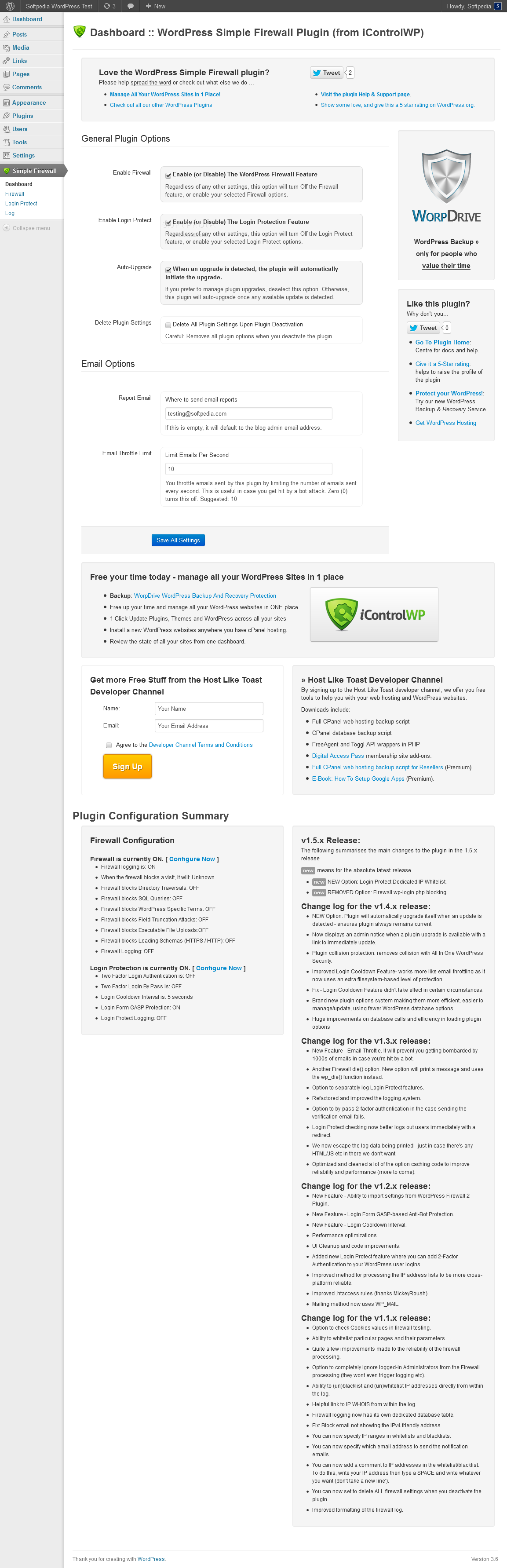WordPress Simple Security Firewall - WordPress Simple Firewall comes with a very easy to configure dashboard