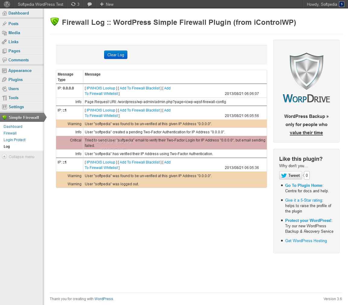WordPress Simple Security Firewall - All firewall actions are logged in the backend