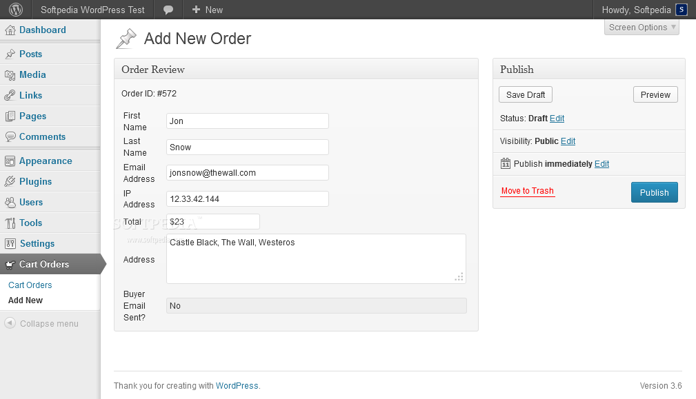 WordPress Simple Paypal Shopping Cart - Orders can be edited or they can be added manually in the backend