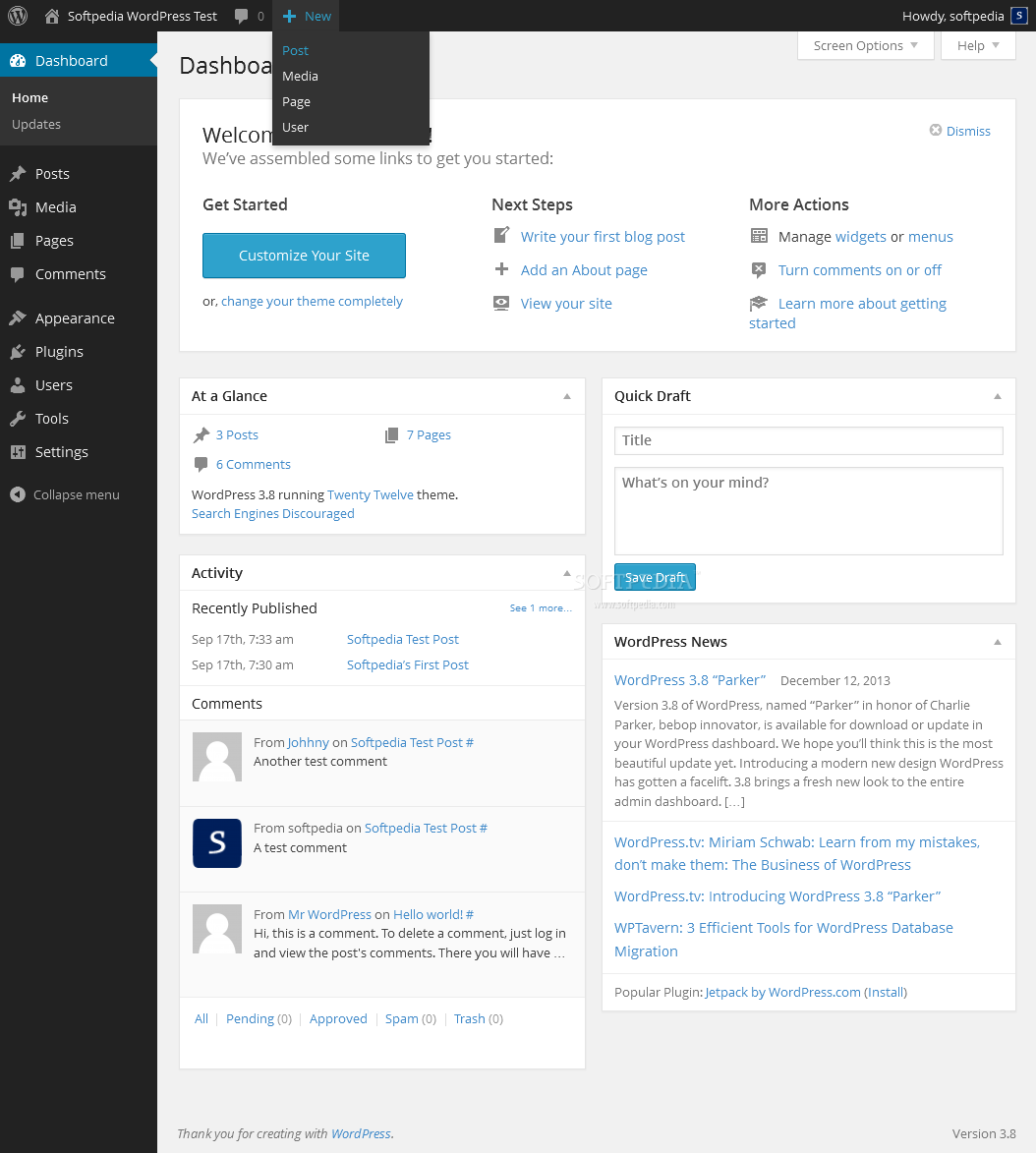 WordPress - WordPress comes with a powerful administration panel