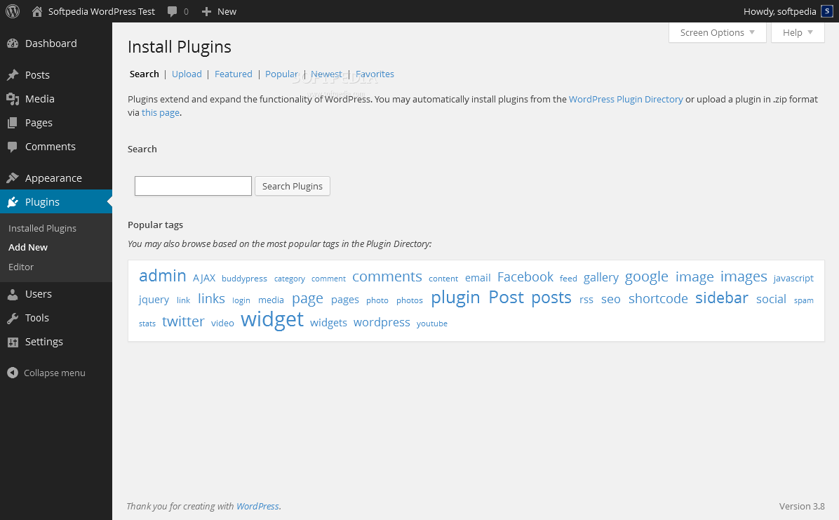 WordPress - Admins can easily search and find plugins via the WordPress backend