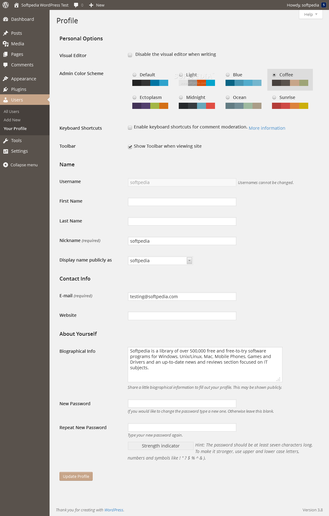 WordPress - A coffee, darker theme ships with the default installation as well