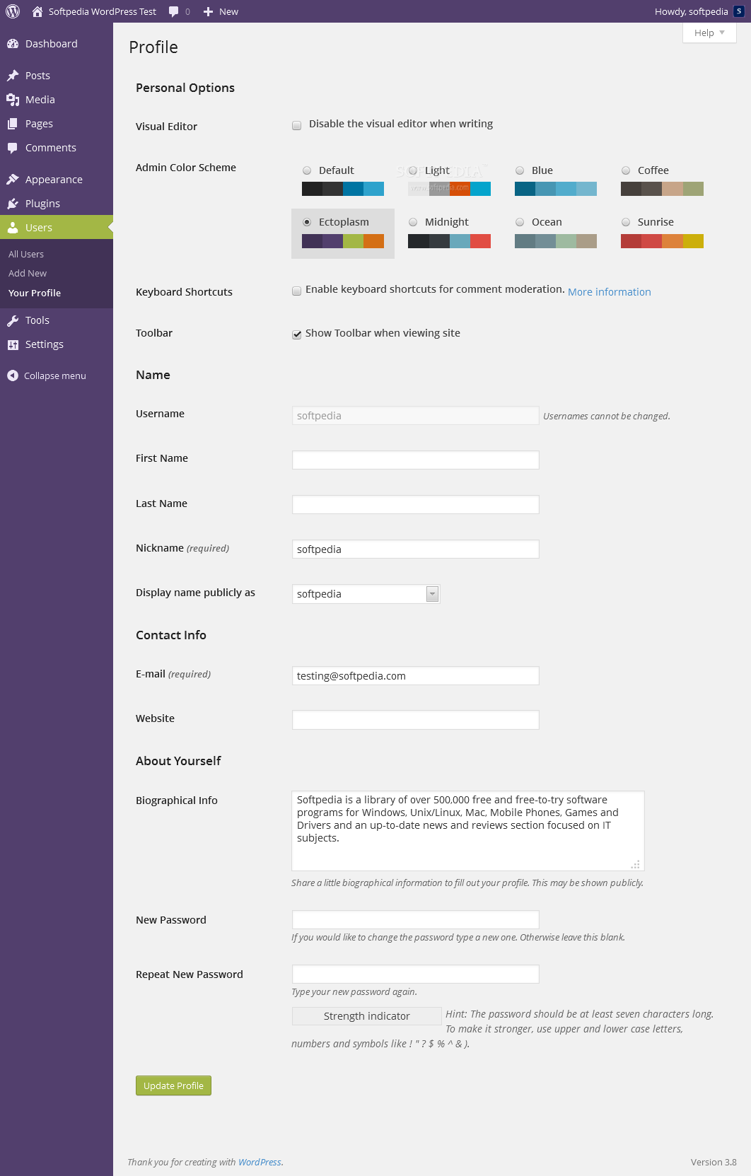 WordPress - A light violet theme named Ectoplasm is also included