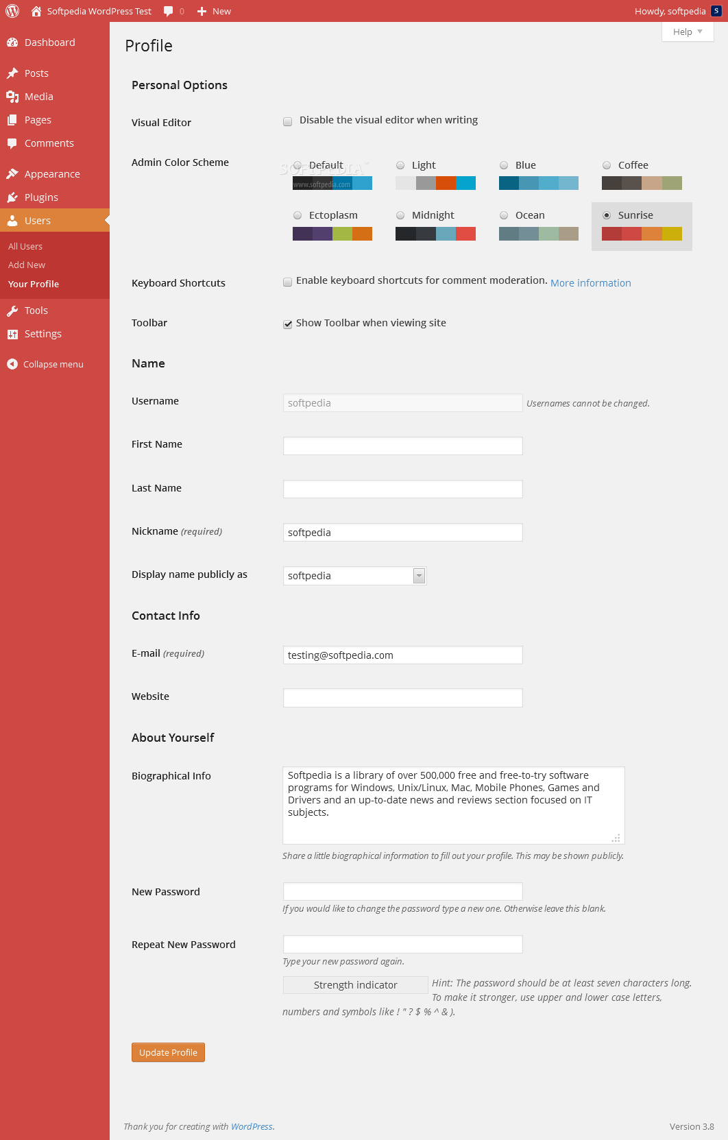 WordPress - A red theme for easier legibility is also available