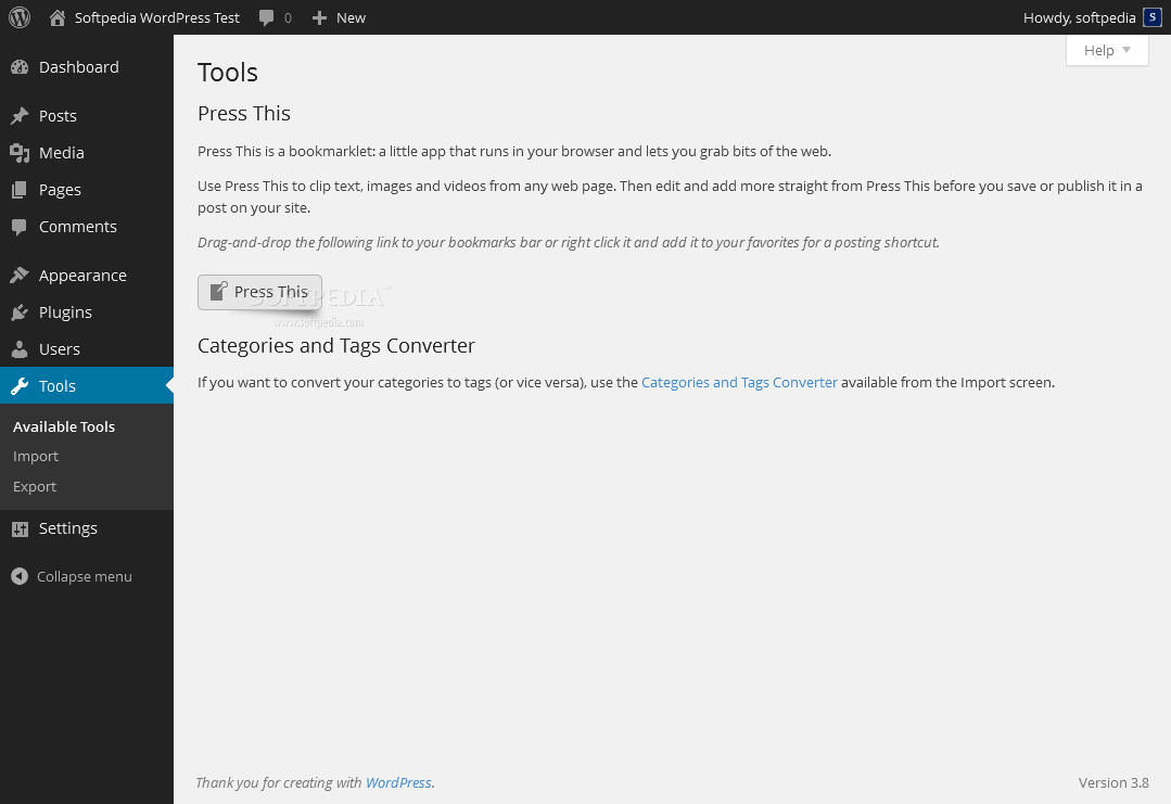 WordPress - The tools section of WordPress contains various utilities (if installed)