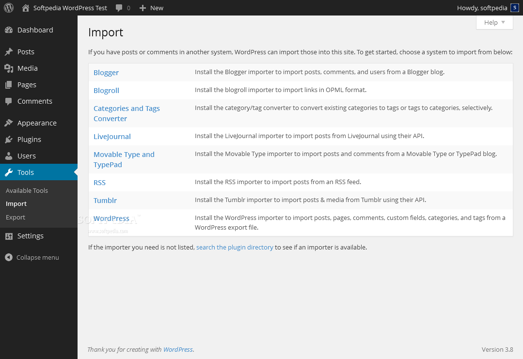 WordPress - Webmasters can easily import content in their blog from other sources