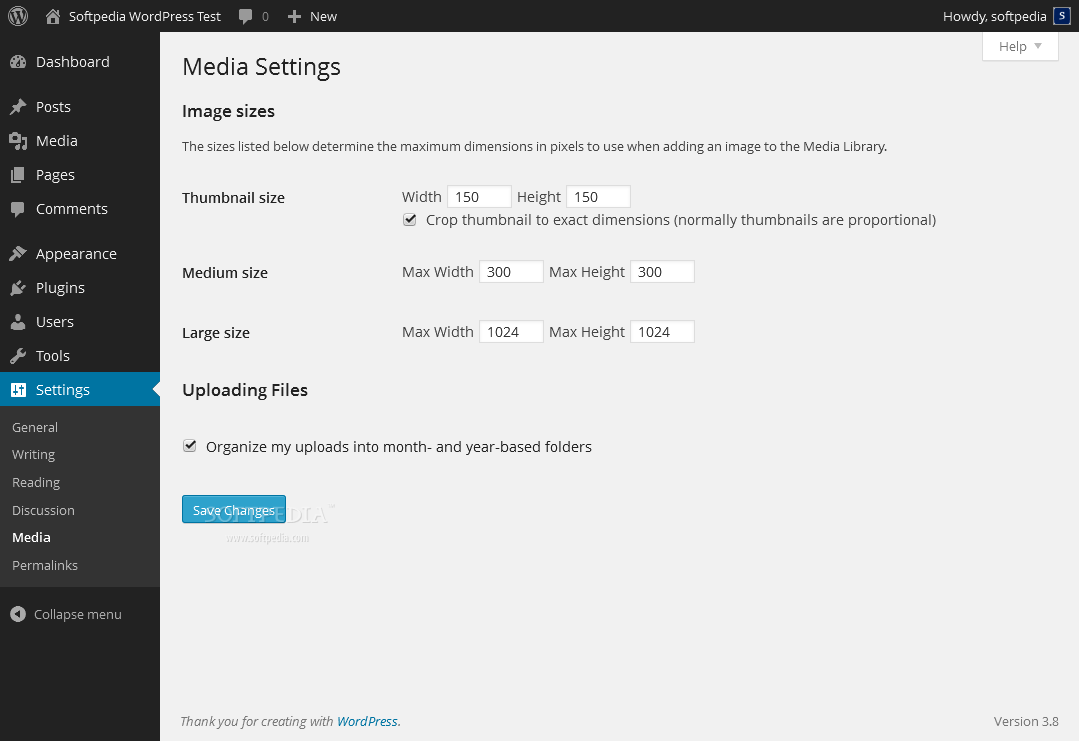 WordPress - Overall media library details can be modified inside the WP admin panel