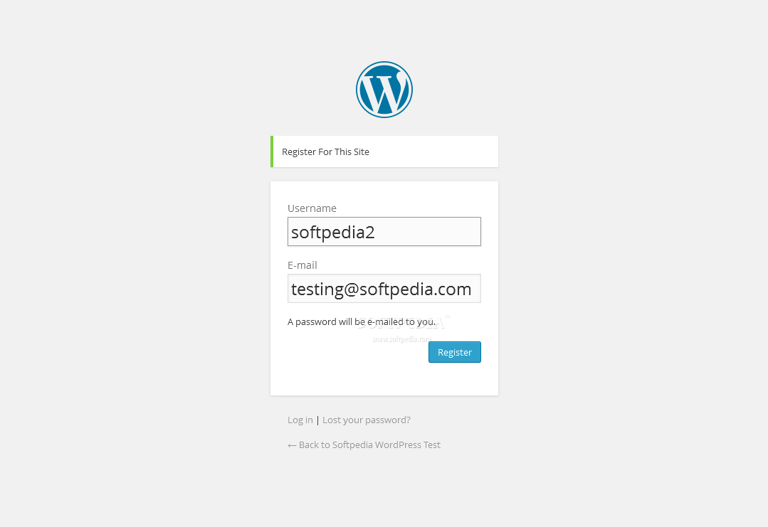 WordPress - The whole registration form contains just two fields