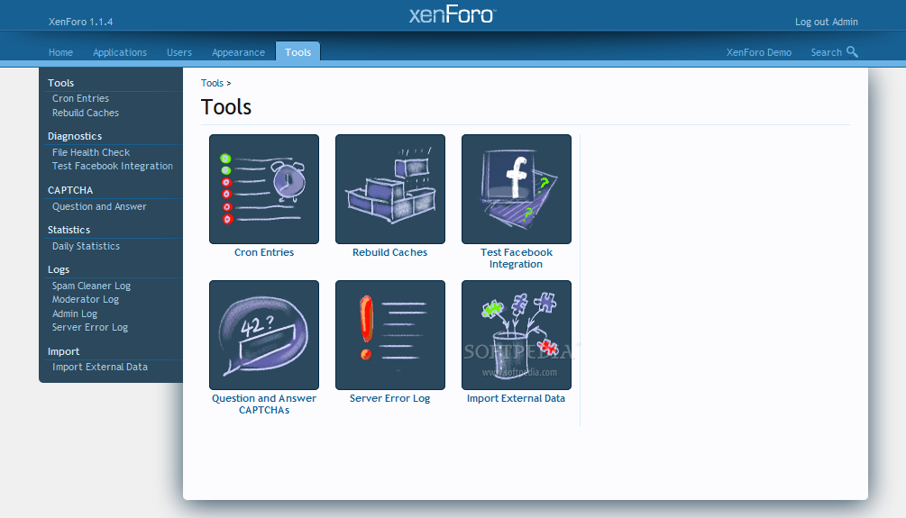 XenForo - Many other XenForo tools are also available in the backend