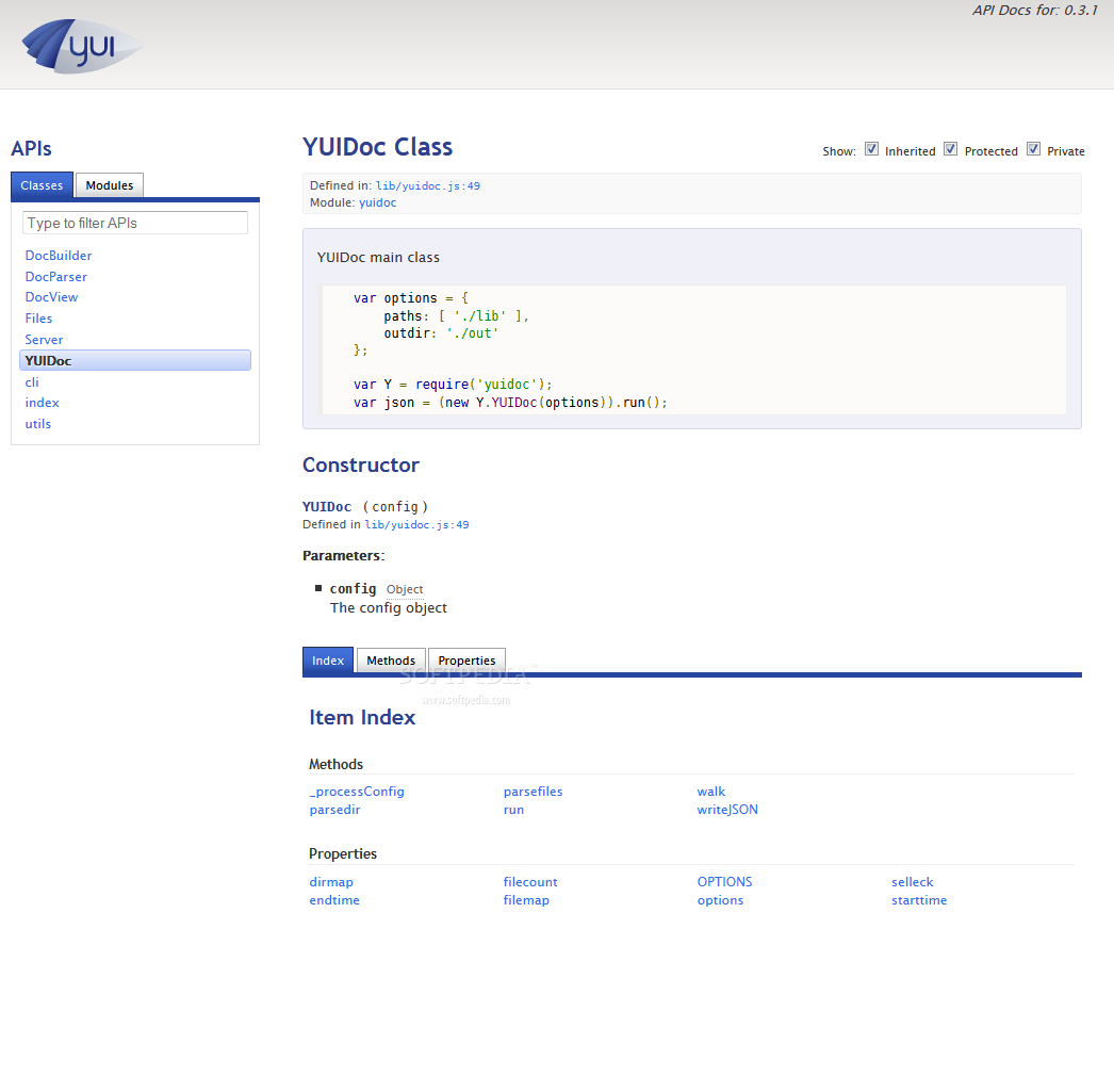 YUIDoc - A sample YUIDoc page provides quick access to various sections of the documentation