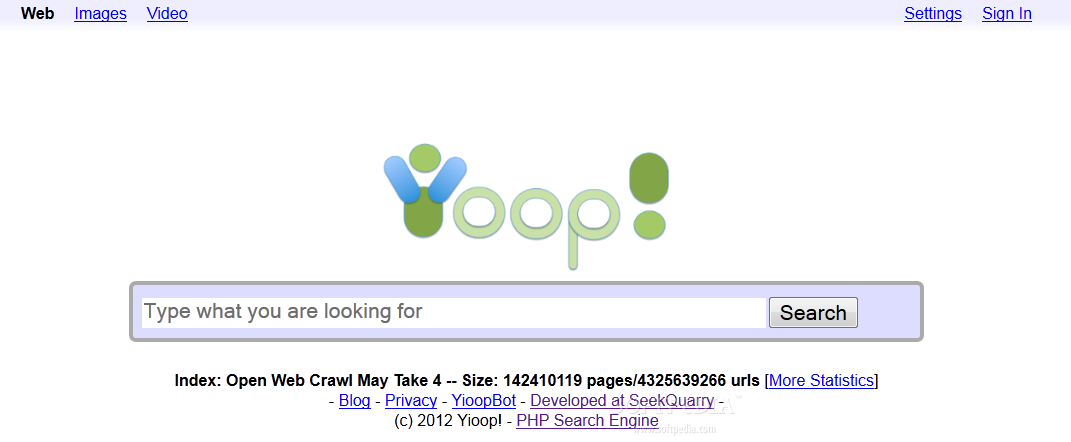 Yioop! - Search engine homepage