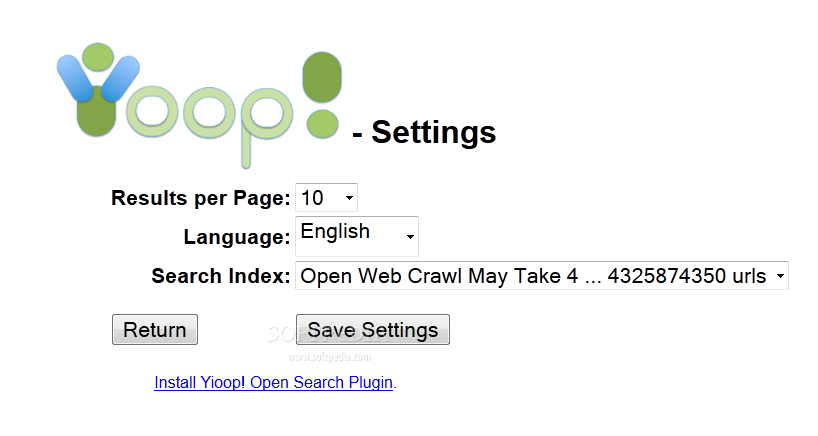 Yioop! - Search engine settings