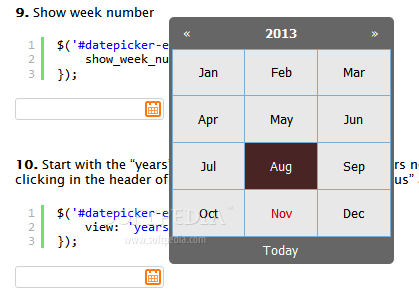 Zebra_Datepicker - A separate month selector is also included with Zebra_Datepicker