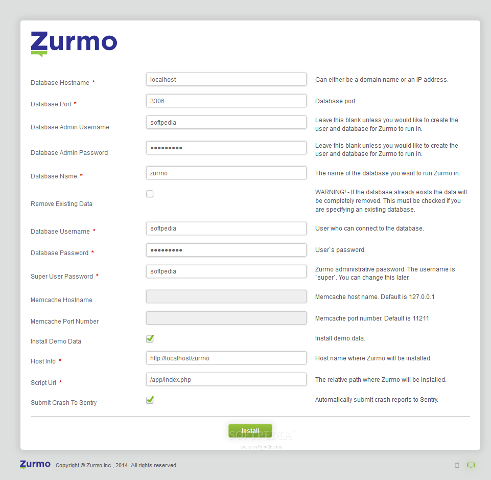 Zurmo - The Zurmo CRM comes with an easy to use installation assistant