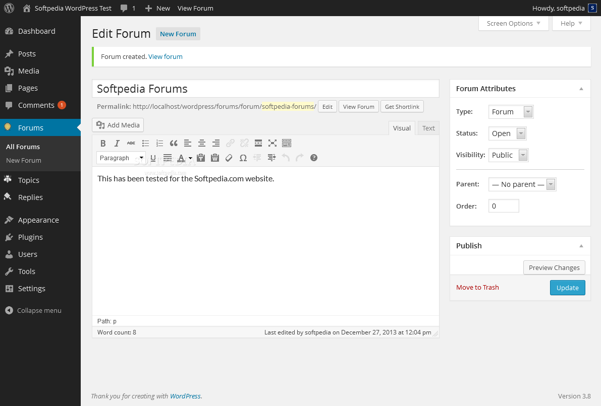 bbPress - bbPress allows admins to create the main forum sections in the backend