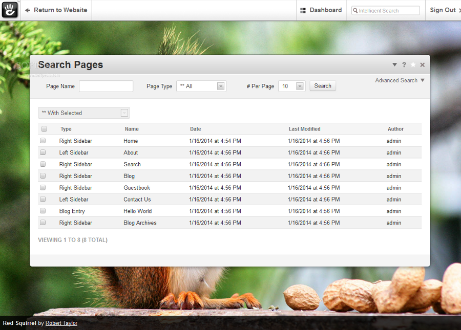concrete5 - A built-in search server allows developers to find desired pages