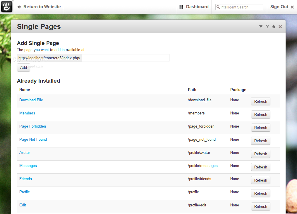 concrete5 - A page manager helps webmasters manage the pages