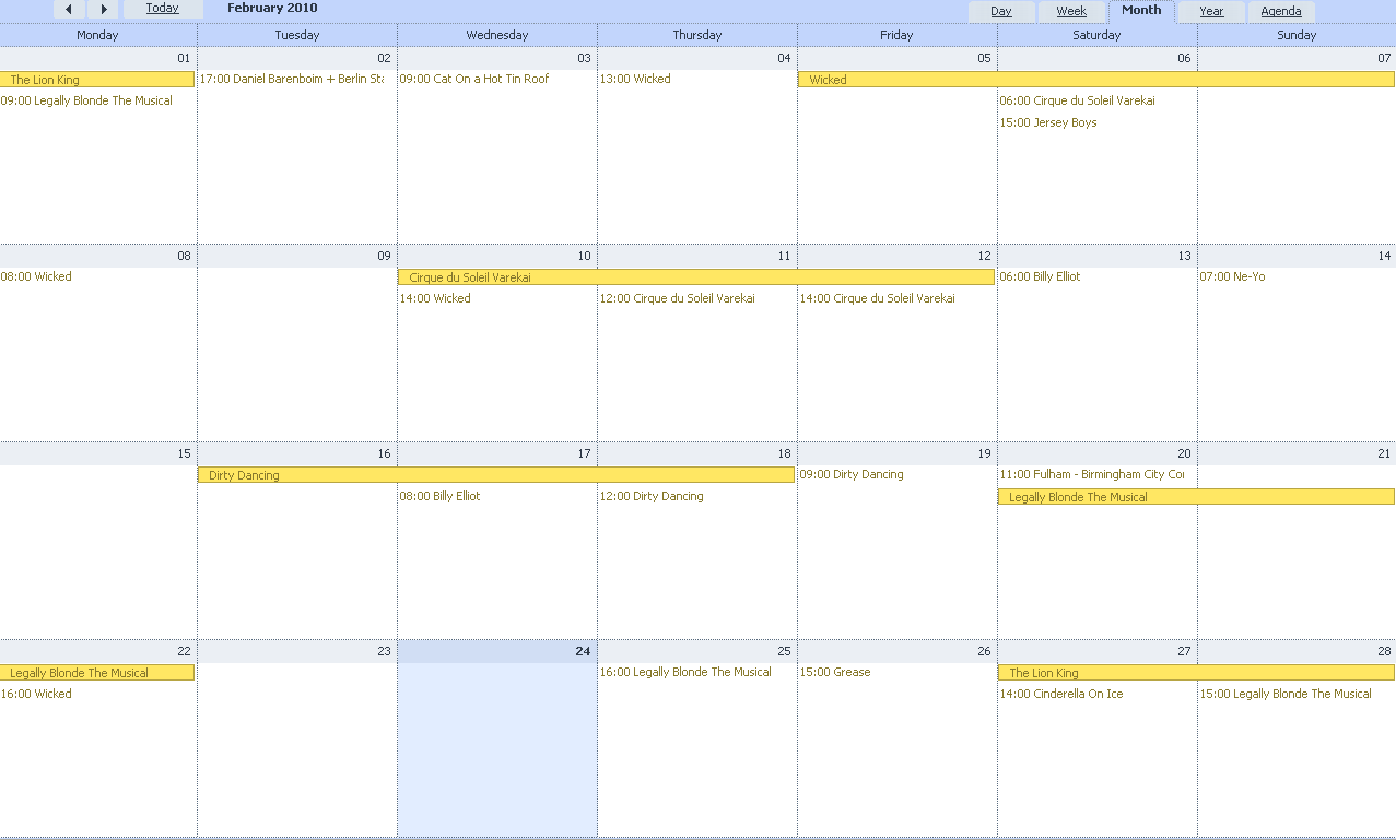 dhtmlxScheduler - Monthly view
