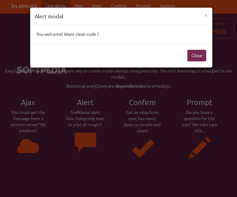 eModal - The plugin can also be used for showing alerts, confirmation, and prompt messages