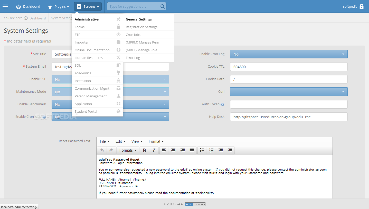 eduTrac - The admin can then go on to the administrative section and setup the eduTrac portal