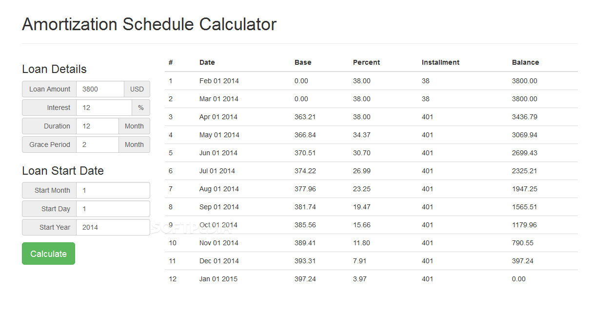 jquery amortization schedule calculator download