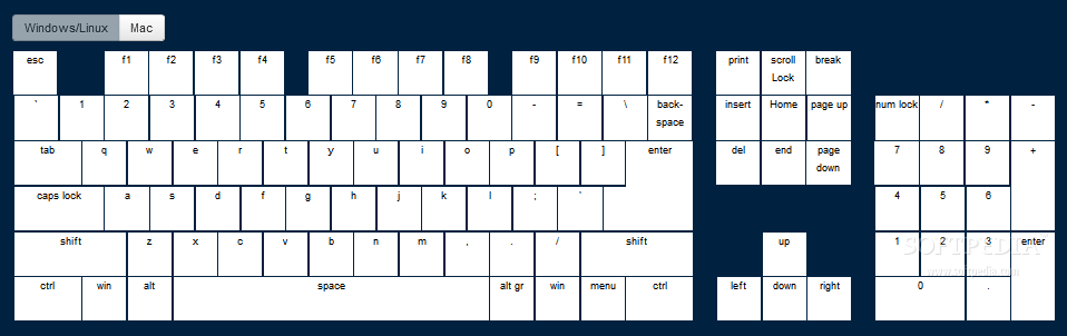 jQuery Keymap - jQuery Keymap can be used to display Windows keyboard layouts on a page