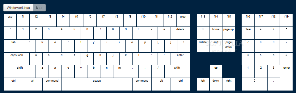 jQuery Keymap - jQuery Keymap can be used to display Mac keyboard layouts on a page