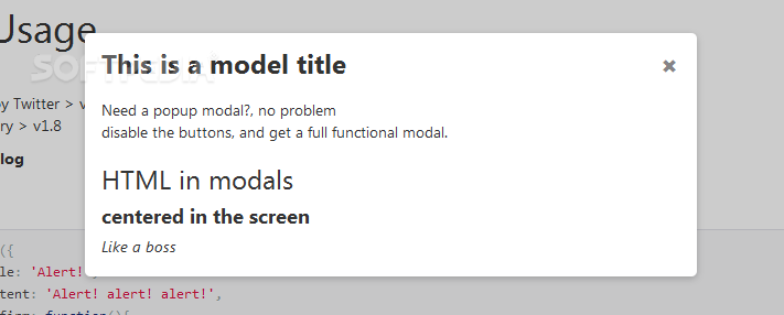 jquery-confirm - Regular modals can also be shown, without any type of close/confirmation buttons