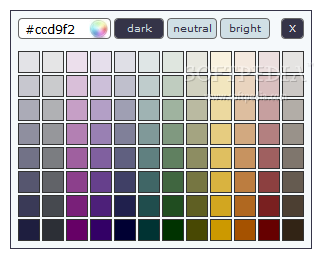 kolorPicker - The basic color picker popup provides all the color variations a user might need