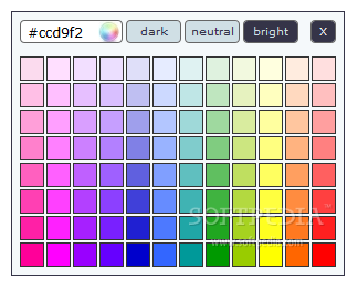kolorPicker - Changing color palettes allows the user access to more color options