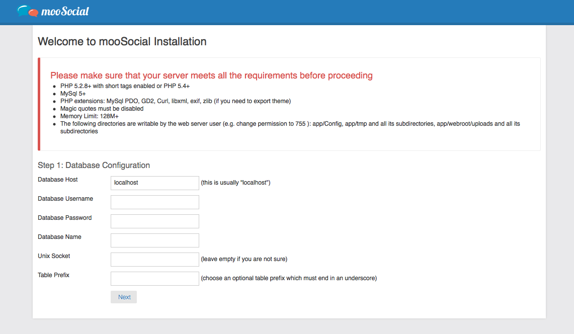 mooSocial - An installation wizard is also available to guide you through the setup process