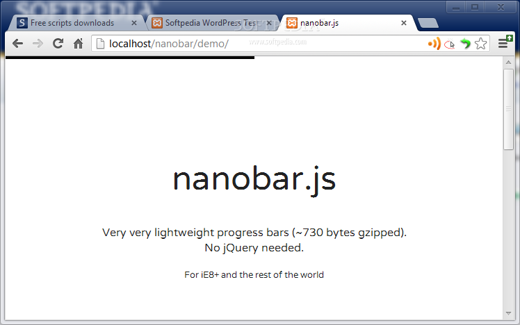 nanobar.js - nanobar.js can be used to add progress bars on the top of websites, an ideal progress indicator for the modern Web
