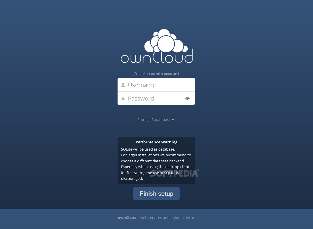 ownCloud - The admin user is created during this process