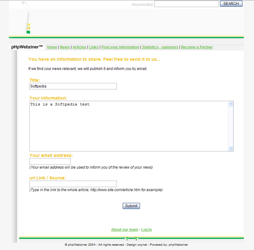 pHpWebziner screenshot 2