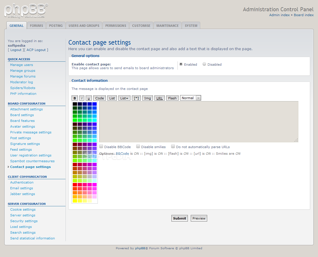 phpBB - A special contact page has been added to the phpBB system