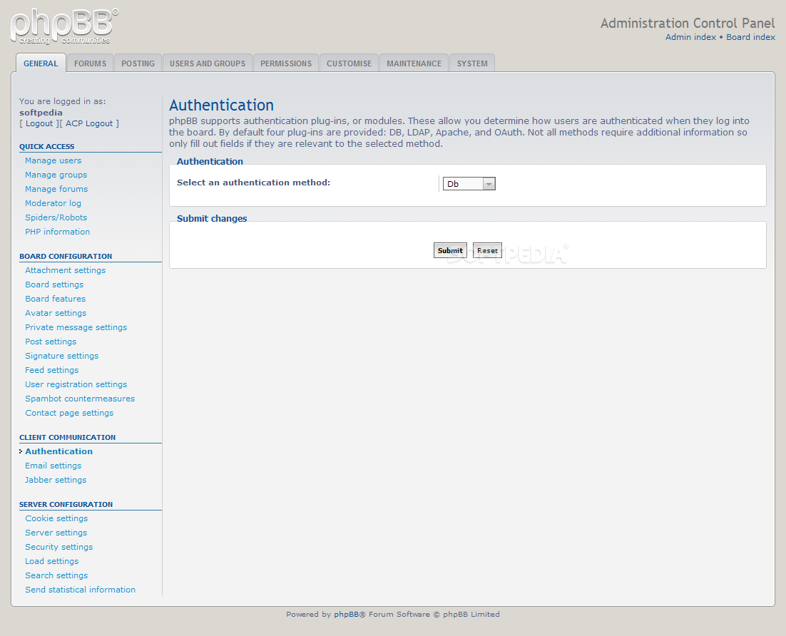 phpBB - Custom forum authentication methods can be used