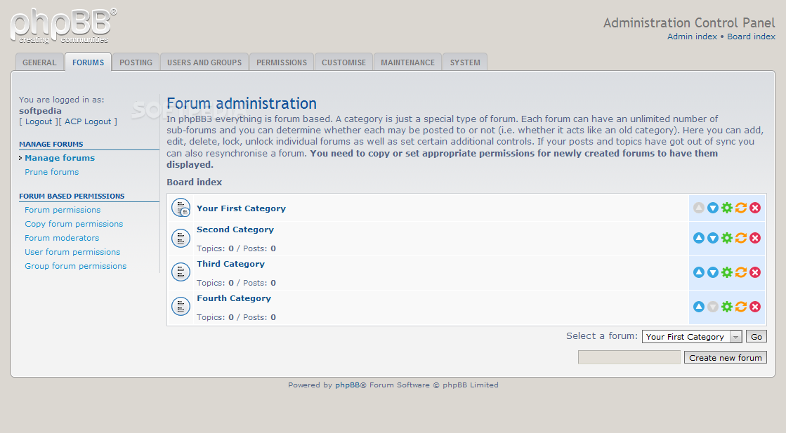 phpBB - Forums and categories can be managed from the phpBB admin panel