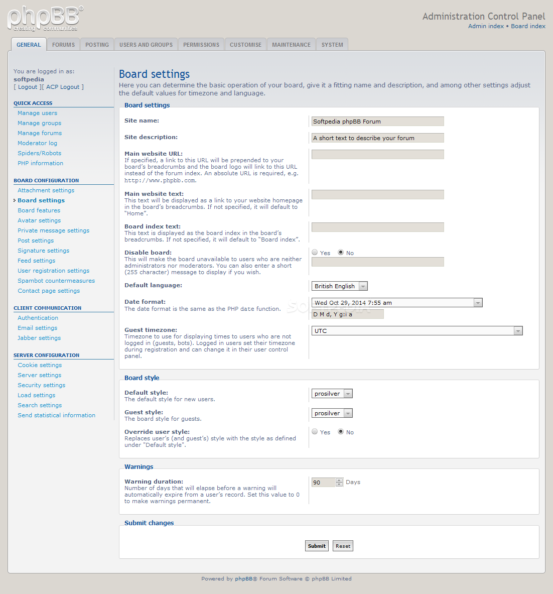 phpBB - Anything can be edited, from attachment to board, avatar, PM, signature, and feed settings