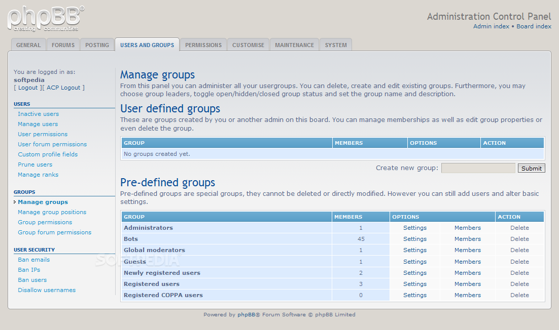 phpBB - User groups can be created and edited with phpBB as well