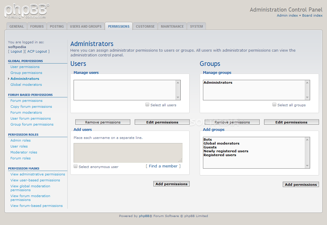 phpBB - Custom administrators and moderators can be added to the system