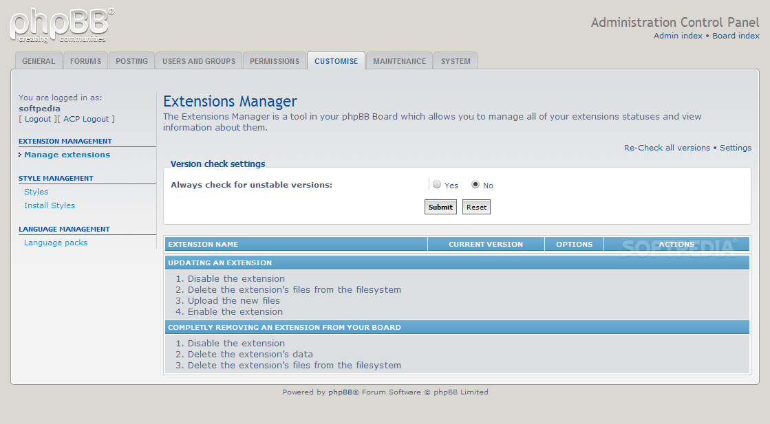 phpBB - Extensions replace classic add-ons in phpBB 3.1.x
