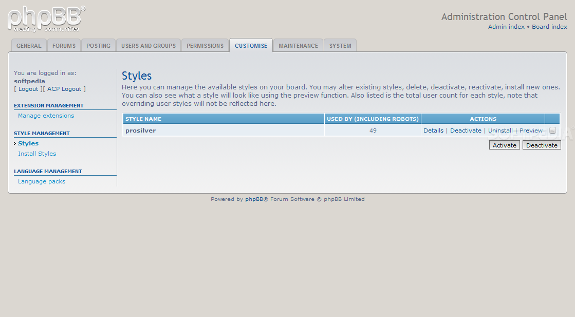 phpBB - A theme manager is also included with phpBB