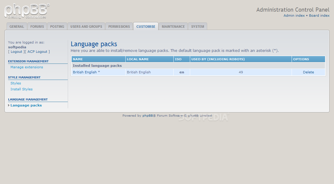 phpBB - Language packs can also be installed on phpBB forums