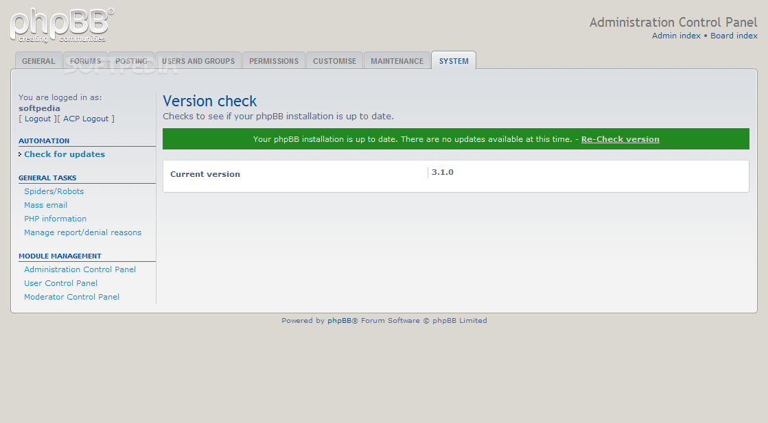 phpBB - An automatic forum updater is also included